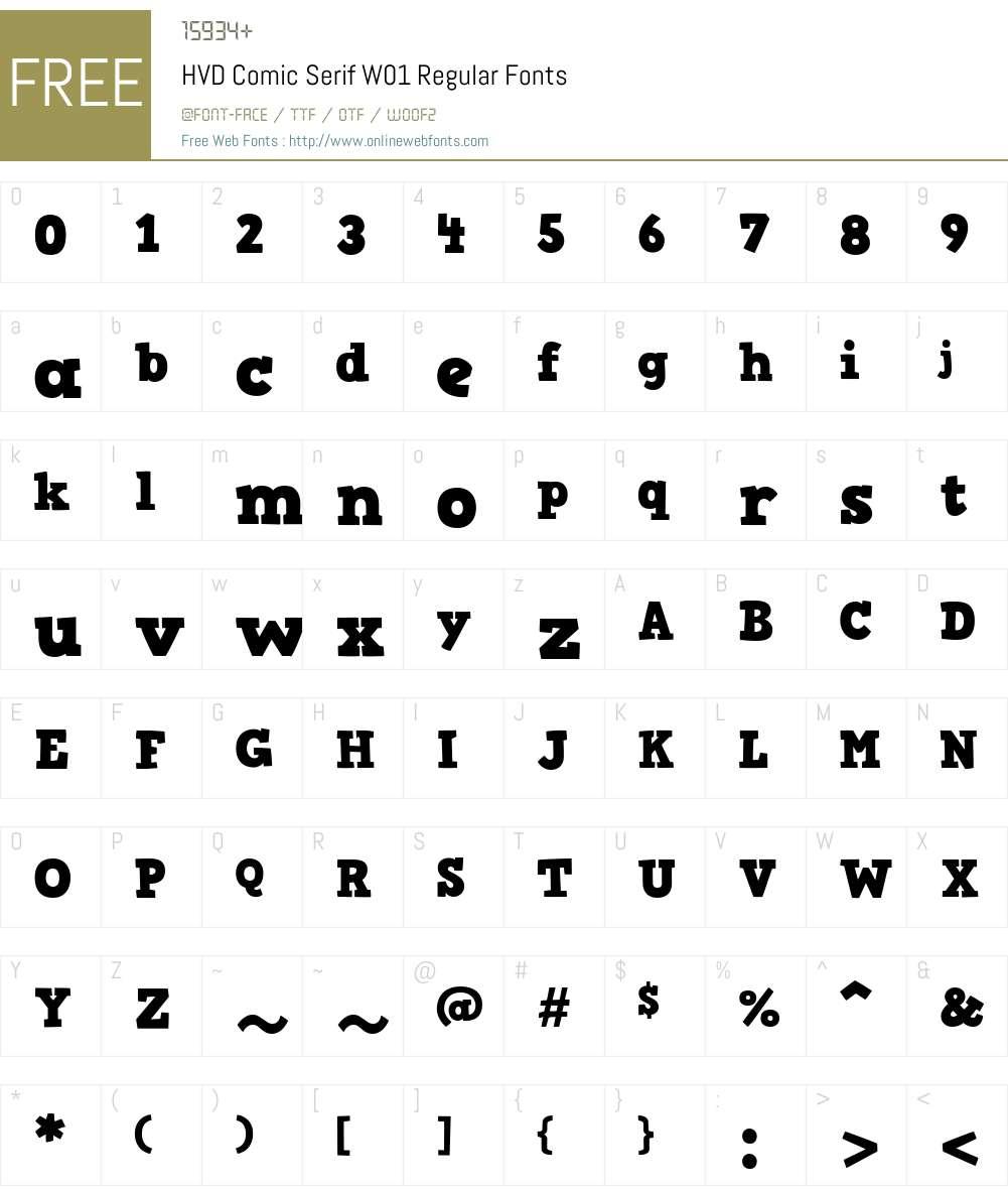 HVDComicSerifW01-Regular Font Screenshots