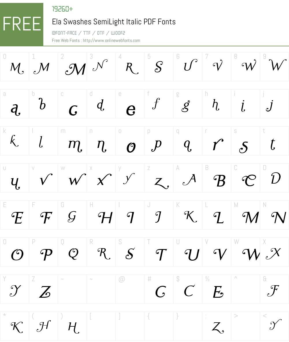 Ela Swashes SemiLight Font Screenshots