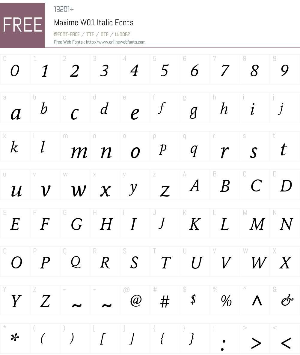 MaximeW01-Italic Font Screenshots