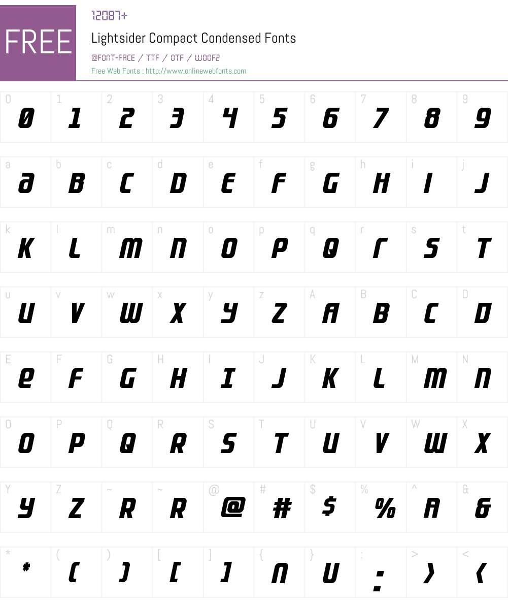 Lightsider Compact Condensed Font Screenshots
