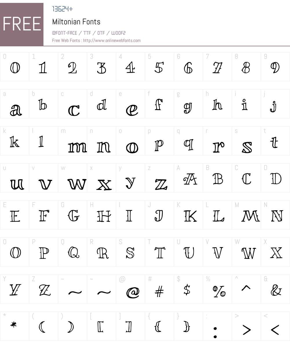 Miltonian Font Screenshots