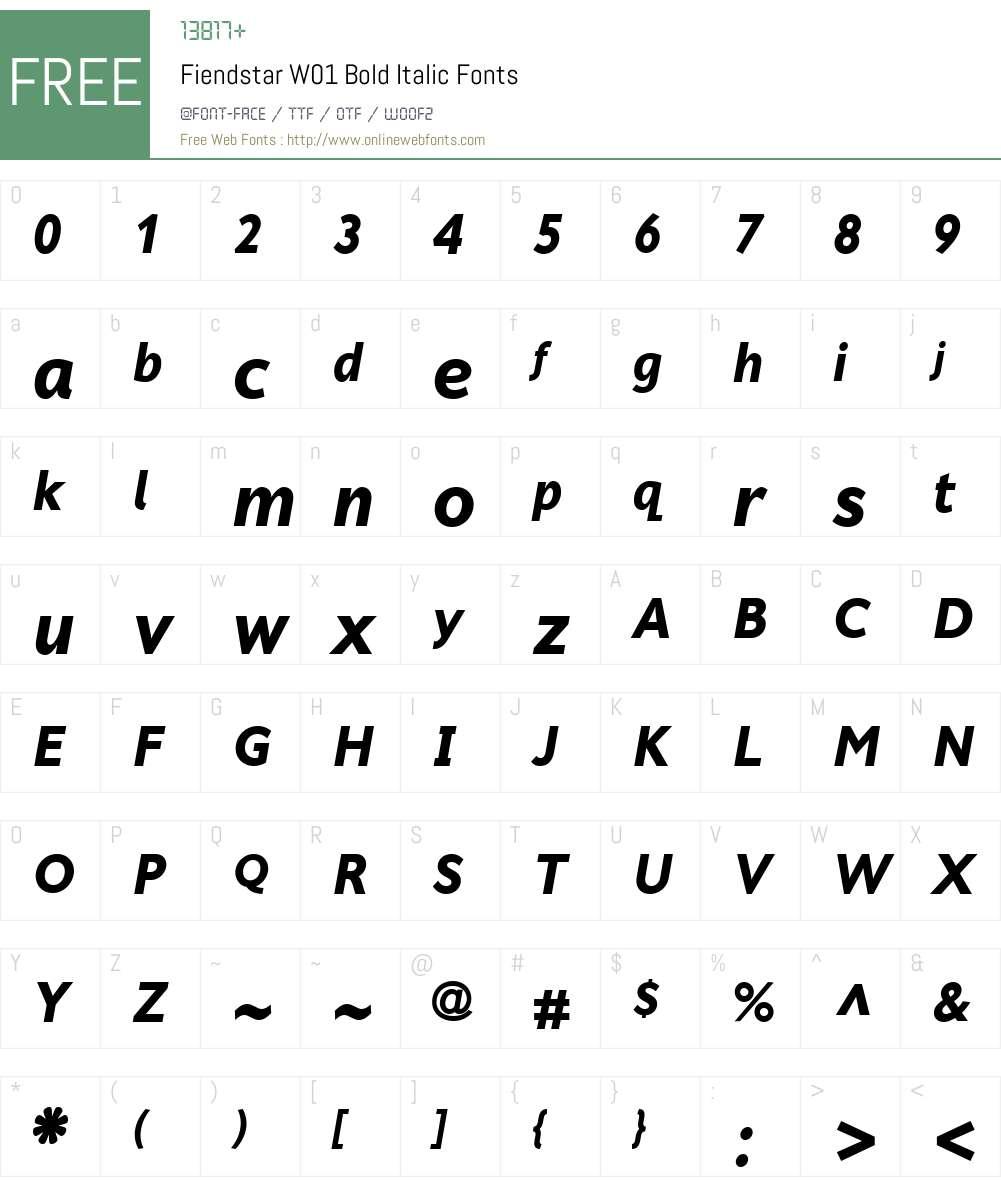 FiendstarW01-BoldItalic Font Screenshots