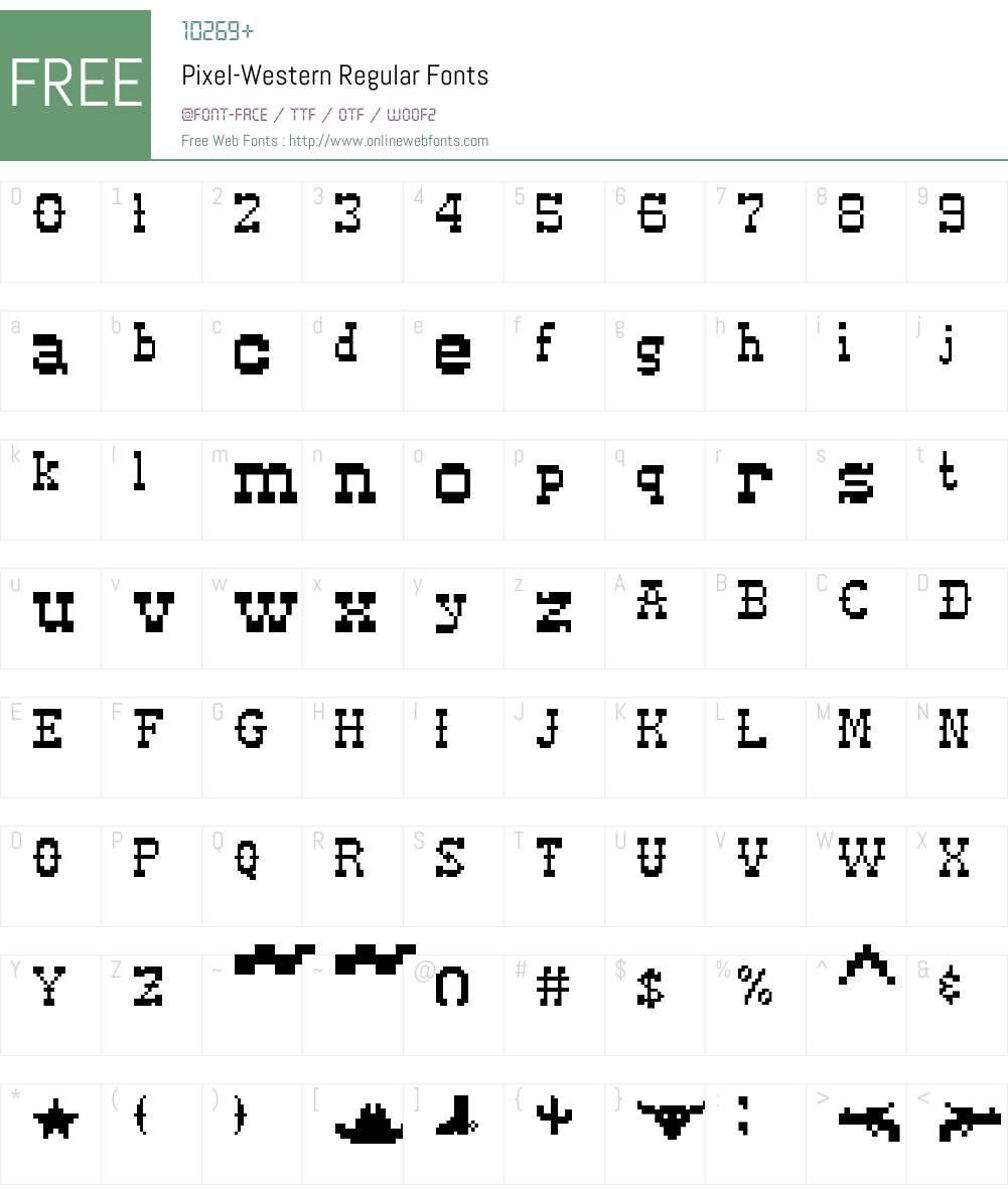Pixel-Western Font Screenshots