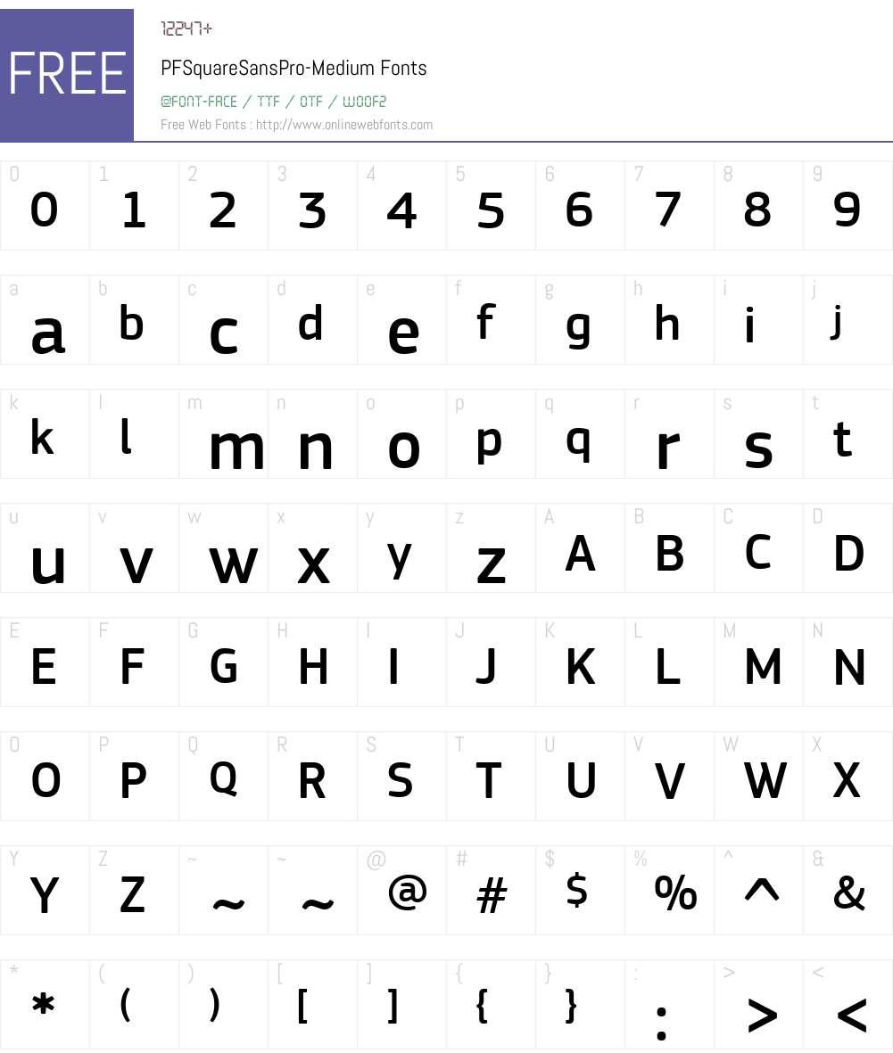 PF Square Sans Pro Medium Font Screenshots