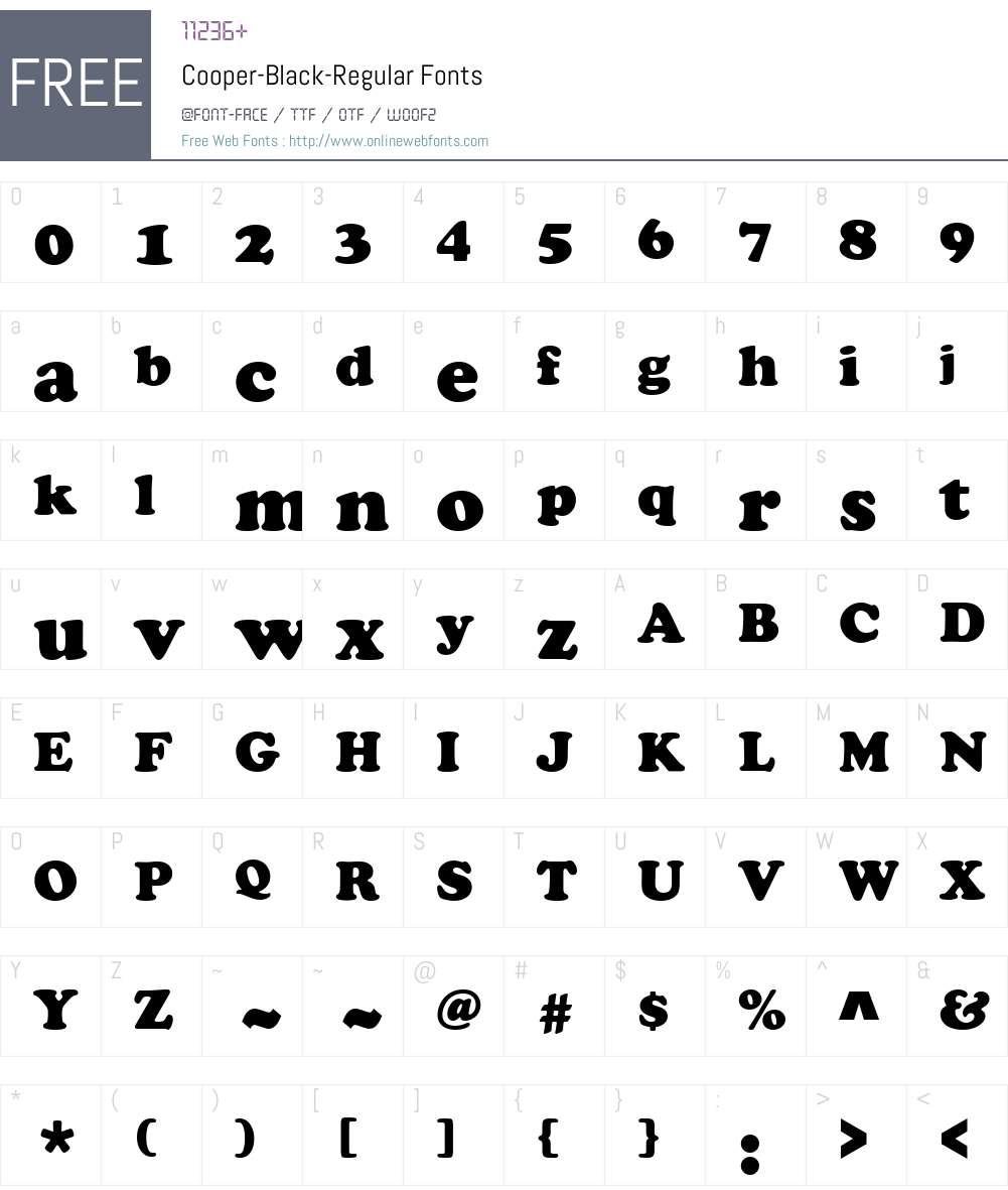 Cooper-Black Font Screenshots