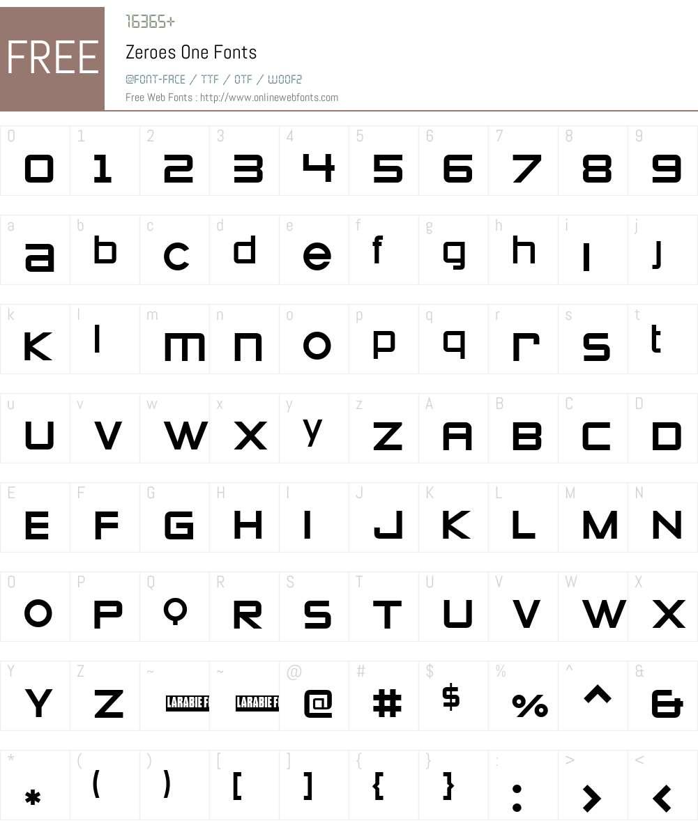 Zeroes One Font Screenshots