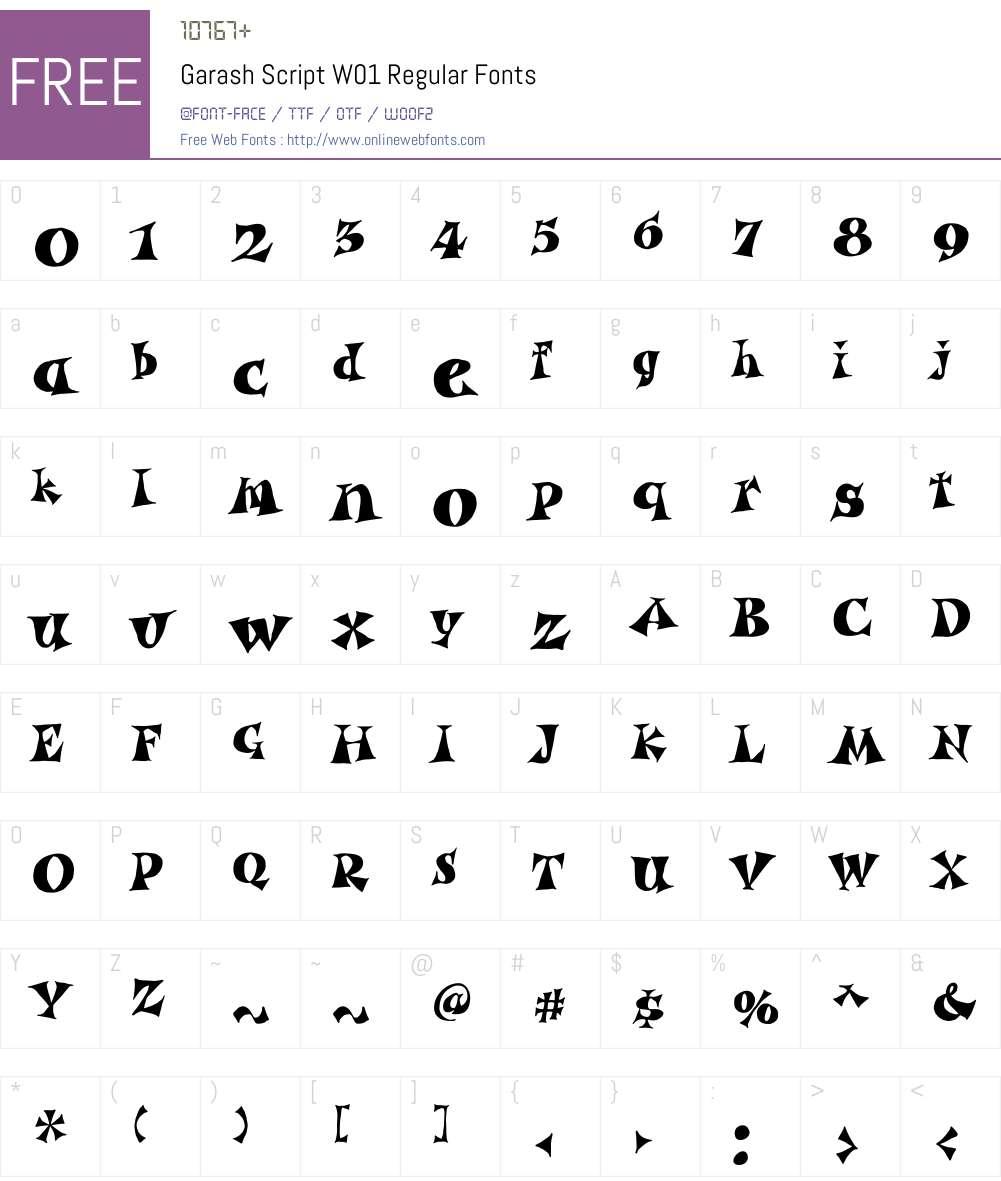 GarashScriptW01-Regular Font Screenshots