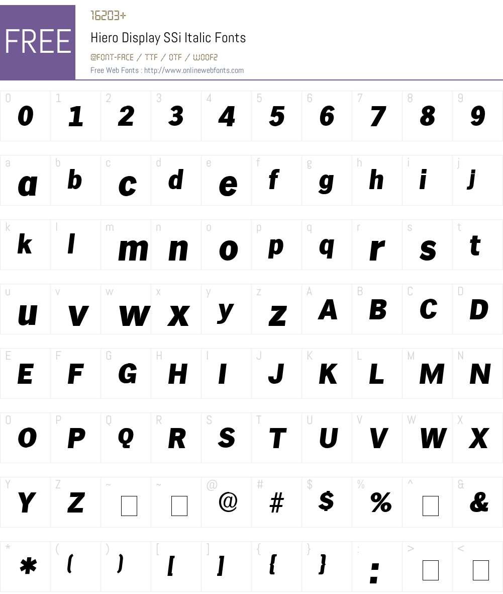 Hiero Display SSi Font Screenshots
