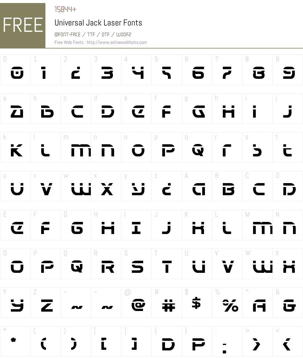 Universal Jack Laser Font Screenshots
