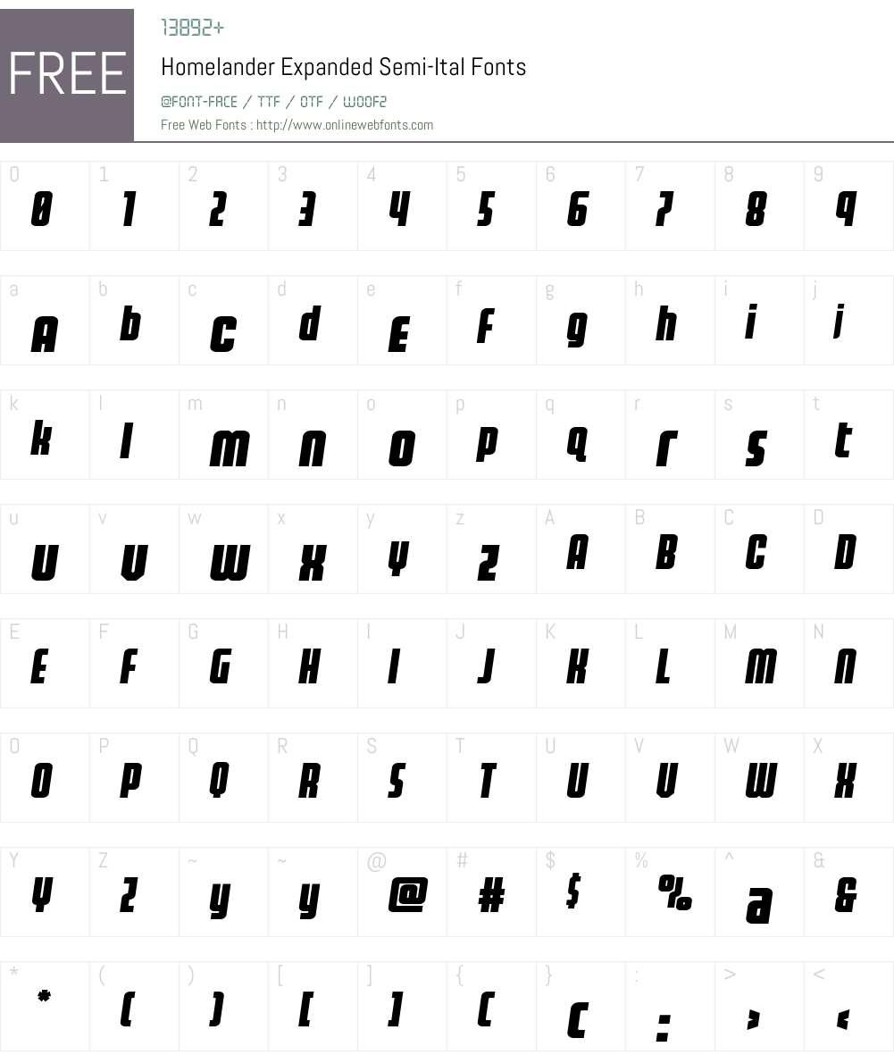 Homelander Expanded Semi-Ital Font Screenshots