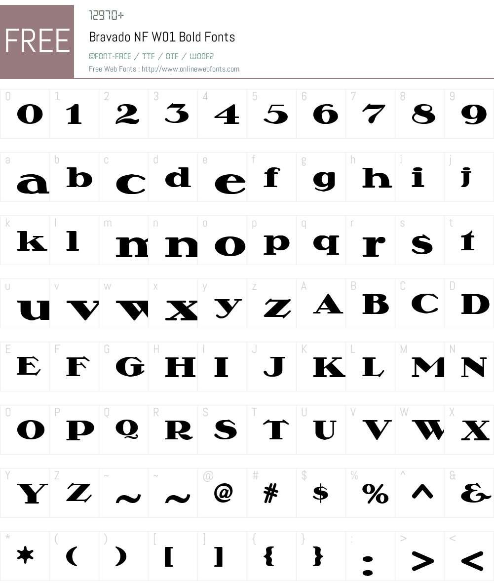 BravadoNFW01-Bold Font Screenshots