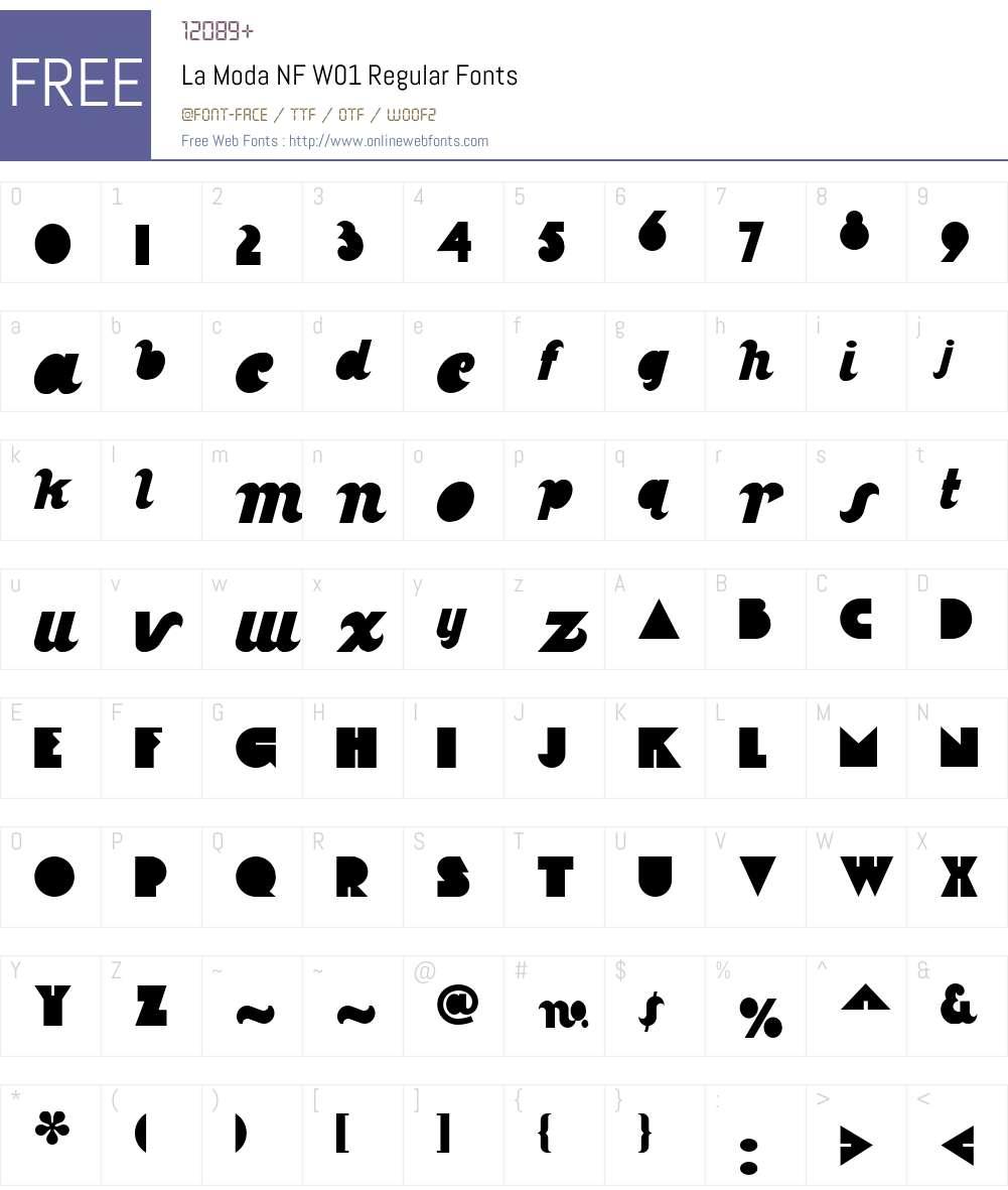 LaModaNFW01-Regular Font Screenshots