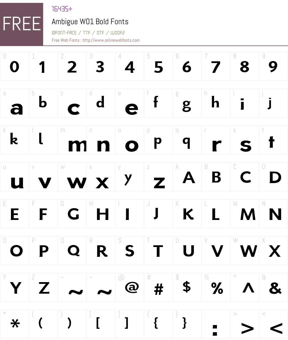 AmbigueW01-Bold Font Screenshots