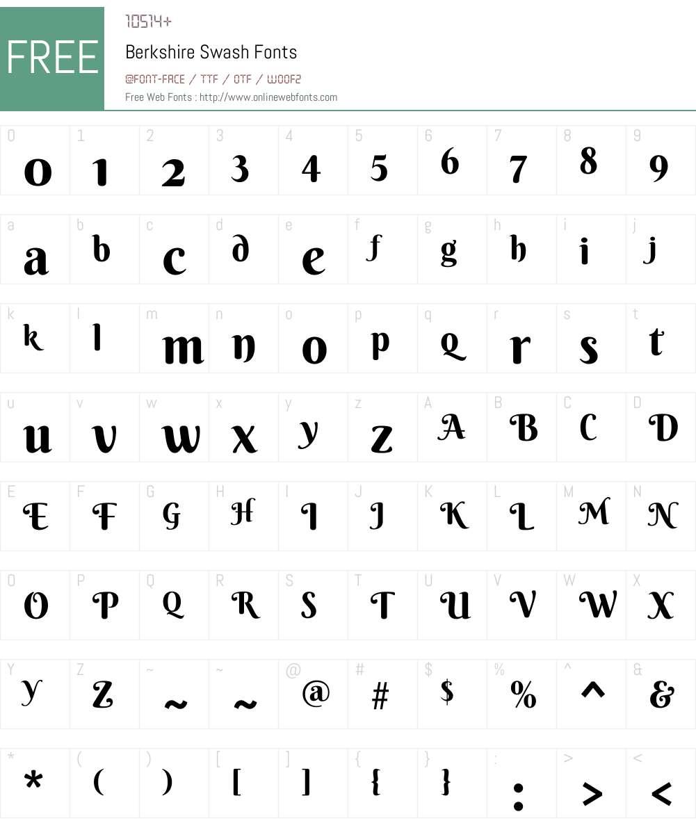 Berkshire Swash Font Screenshots