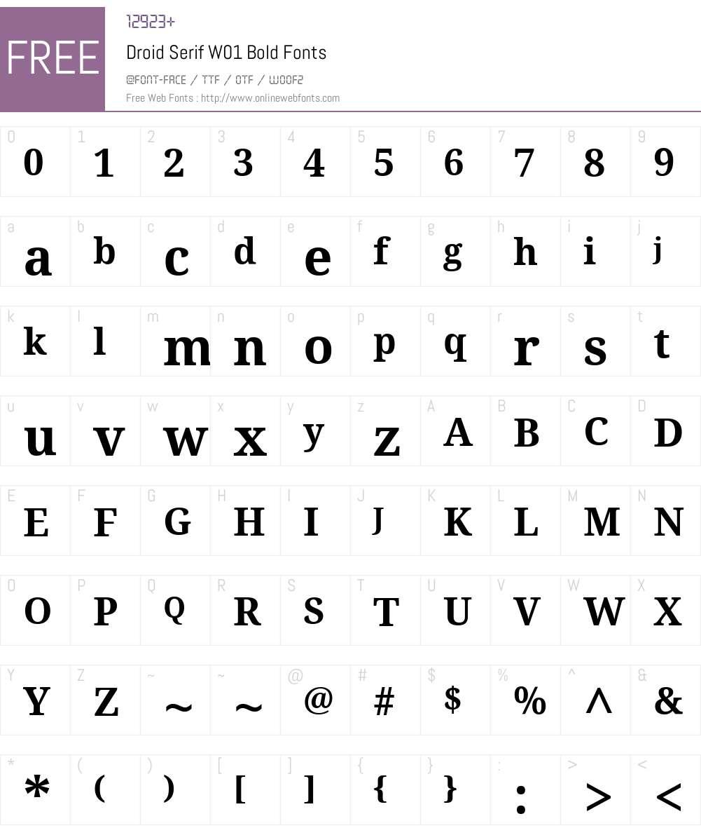 DroidSerifW01-Bold Font Screenshots