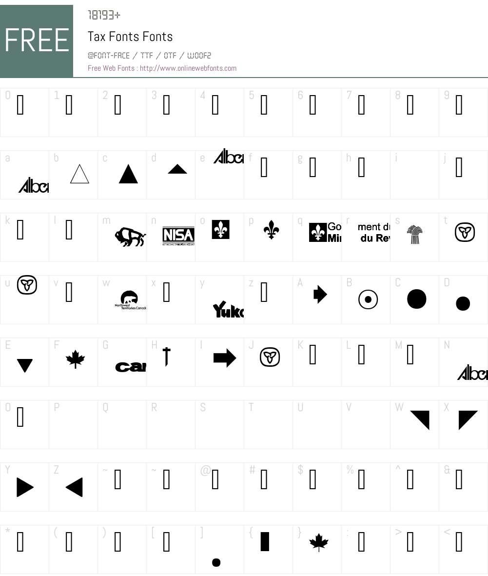Tax Fonts Font Screenshots