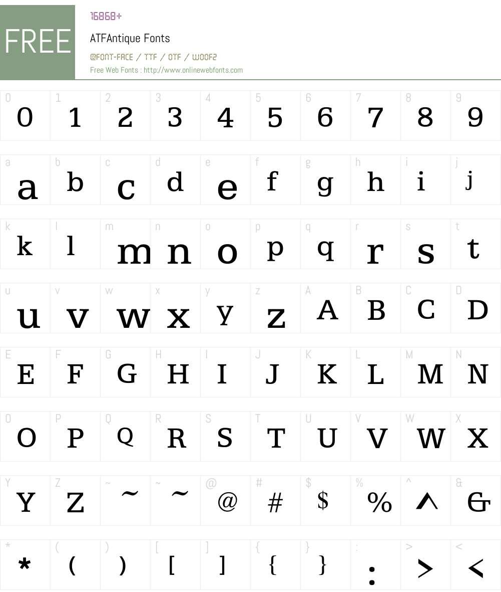 ATFAntique Font Screenshots