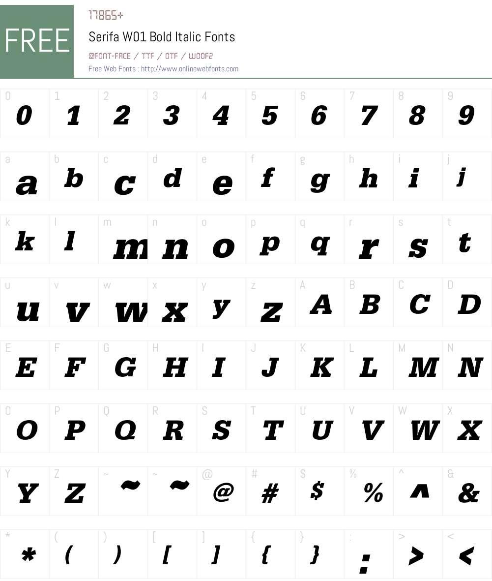 SerifaW01-BoldItalic Font Screenshots