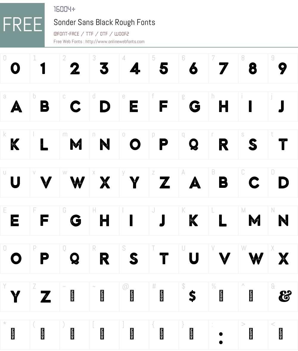 Sonder Sans Black Rough Font Screenshots