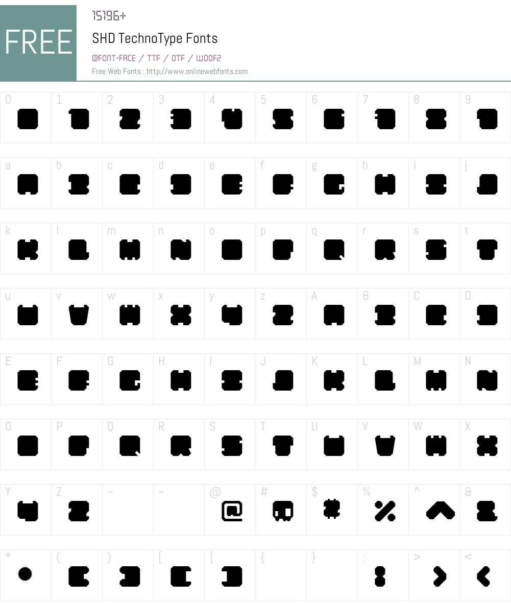 SHD TechnoType Font Screenshots