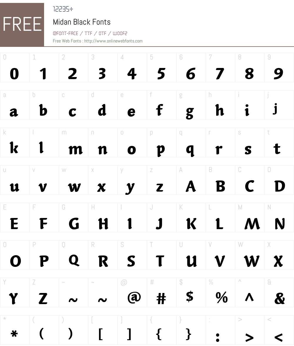 Midan Black Font Screenshots