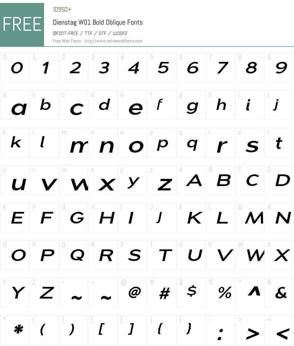 Dienstag Bold Oblique Font Screenshots