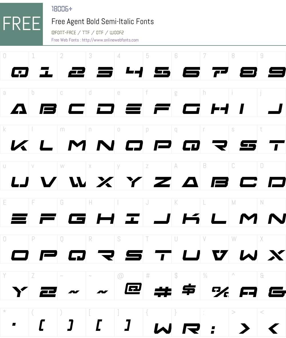 Free Agent Bold Semi-Italic Font Screenshots