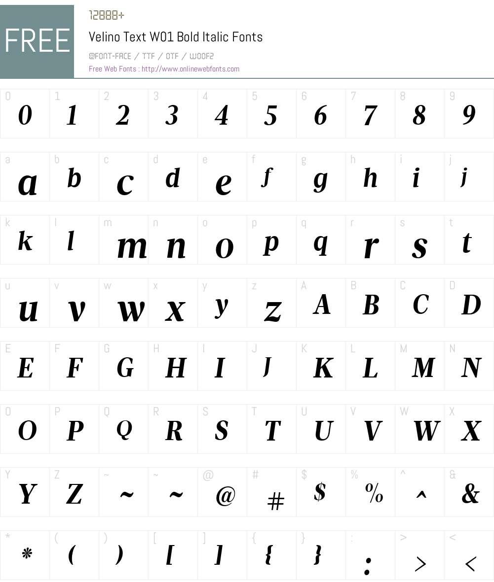 VelinoTextW01-BoldItalic Font Screenshots