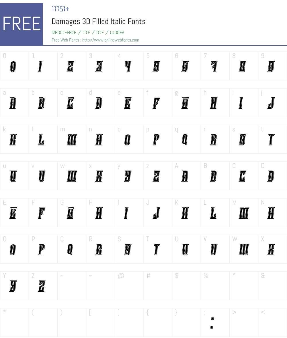 Damages 3D Filled Font Screenshots
