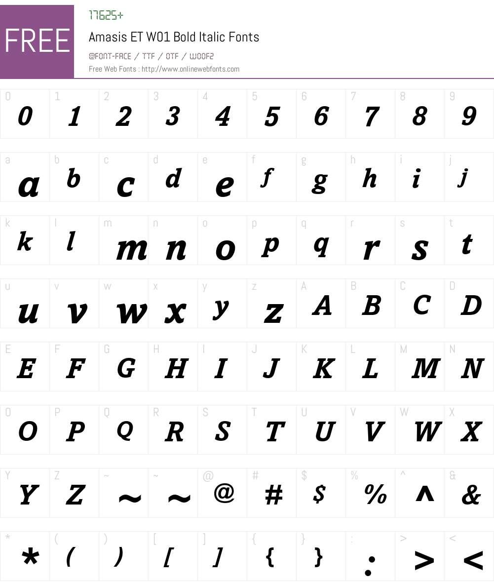 AmasisETW01-BoldItalic Font Screenshots