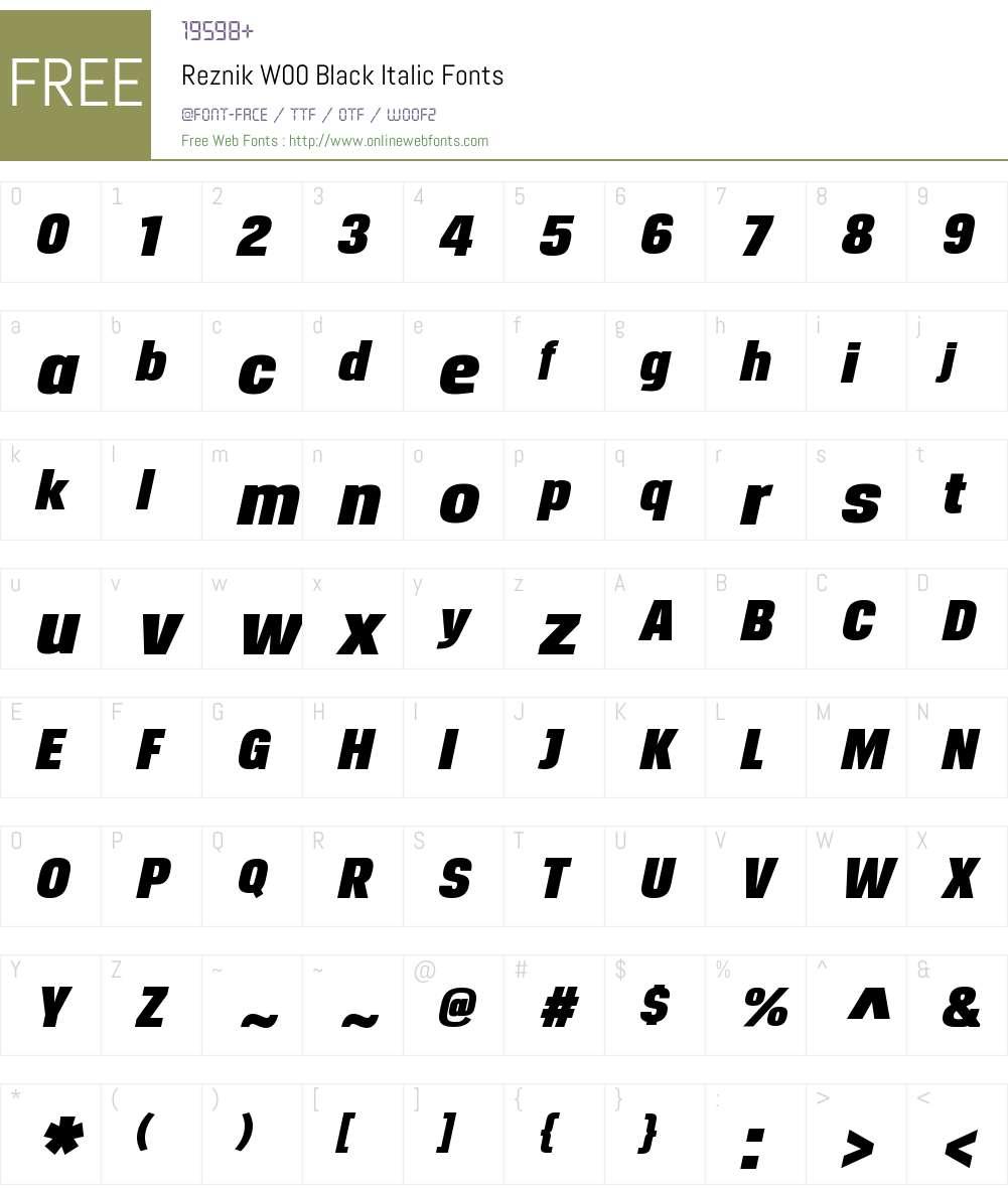 ReznikW00-BlackItalic Font Screenshots