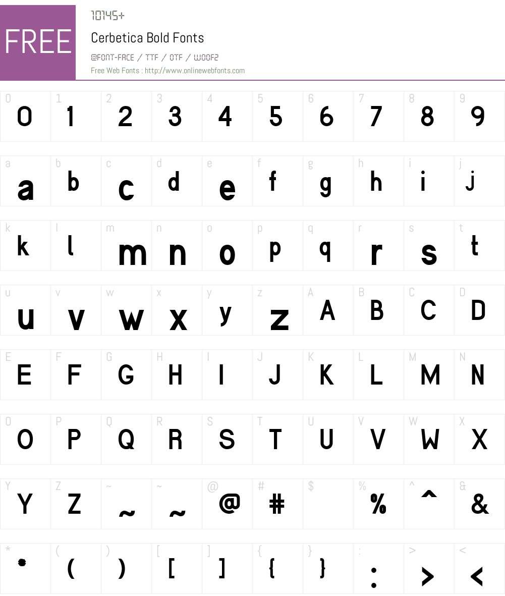 Cerbetica Font Screenshots