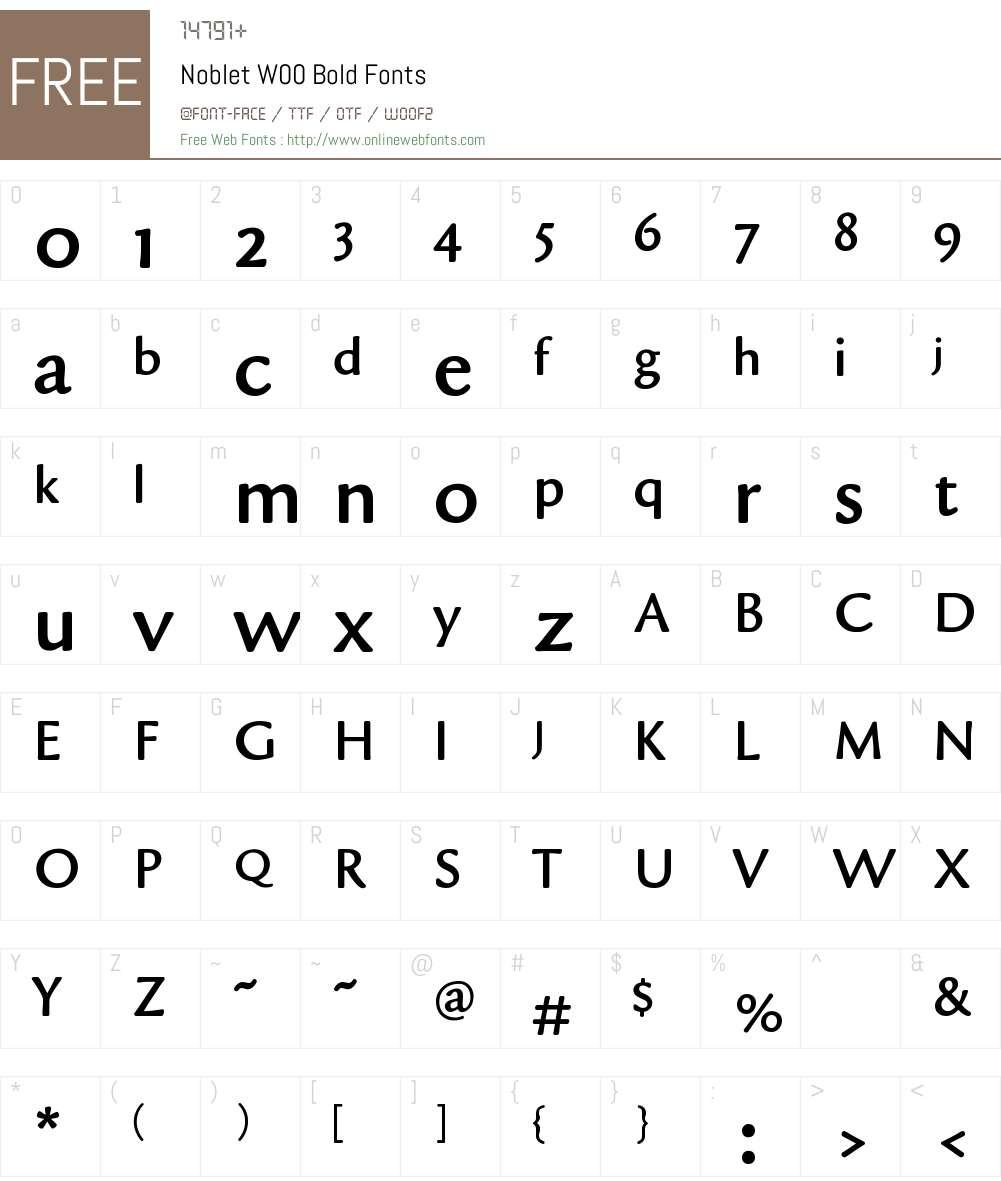 NobletW00-Bold Font Screenshots