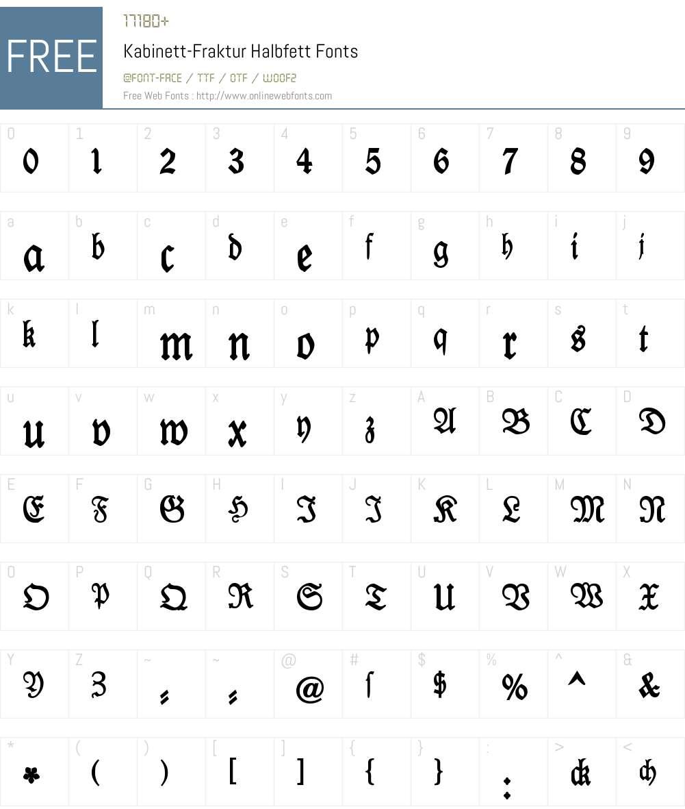 Kabinett-Fraktur Font Screenshots