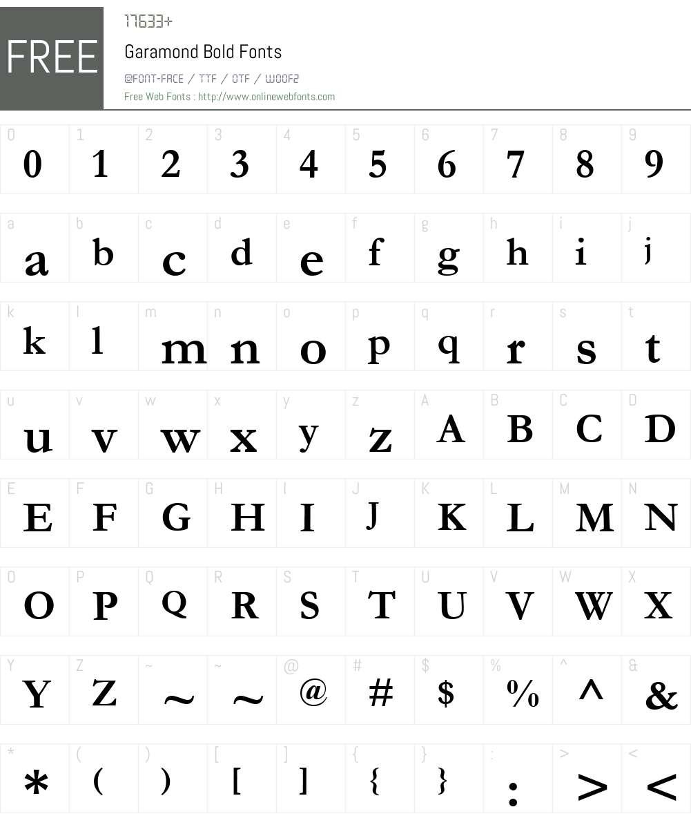 Garamond Font Screenshots