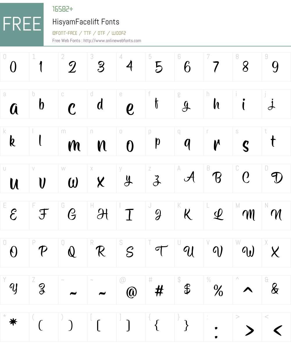 Hisyam Facelift Font Screenshots