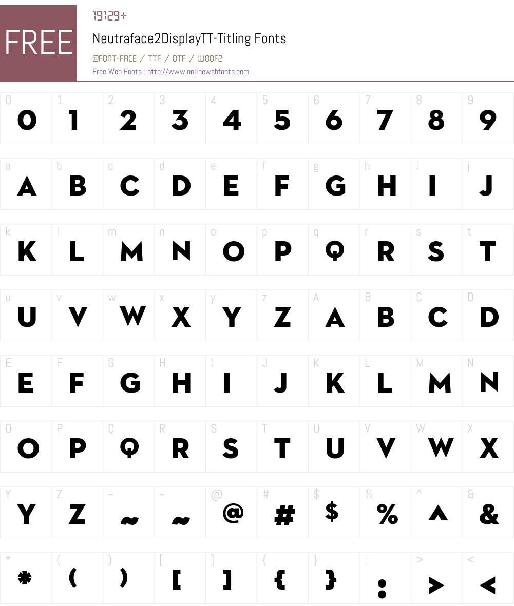 Neutraface2DisplayTT Titling Font Screenshots