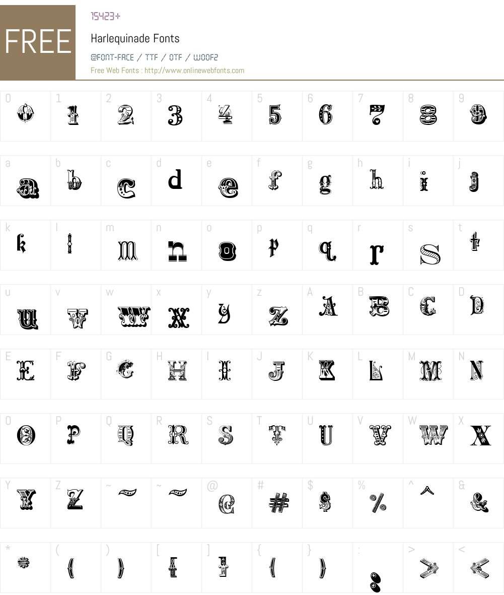 Harlequinade Font Screenshots