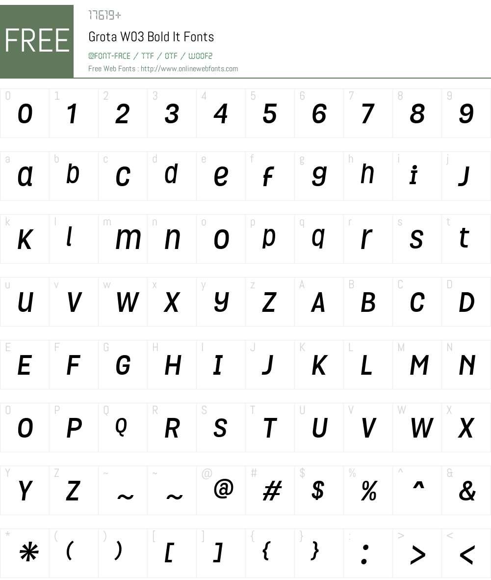 GrotaW03-BoldIt Font Screenshots