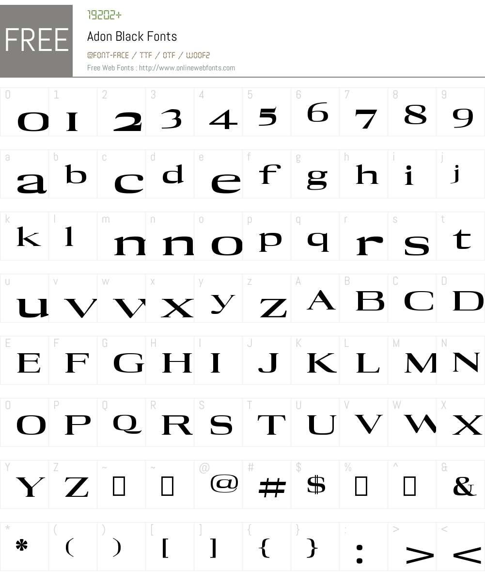Adon Black Font Screenshots