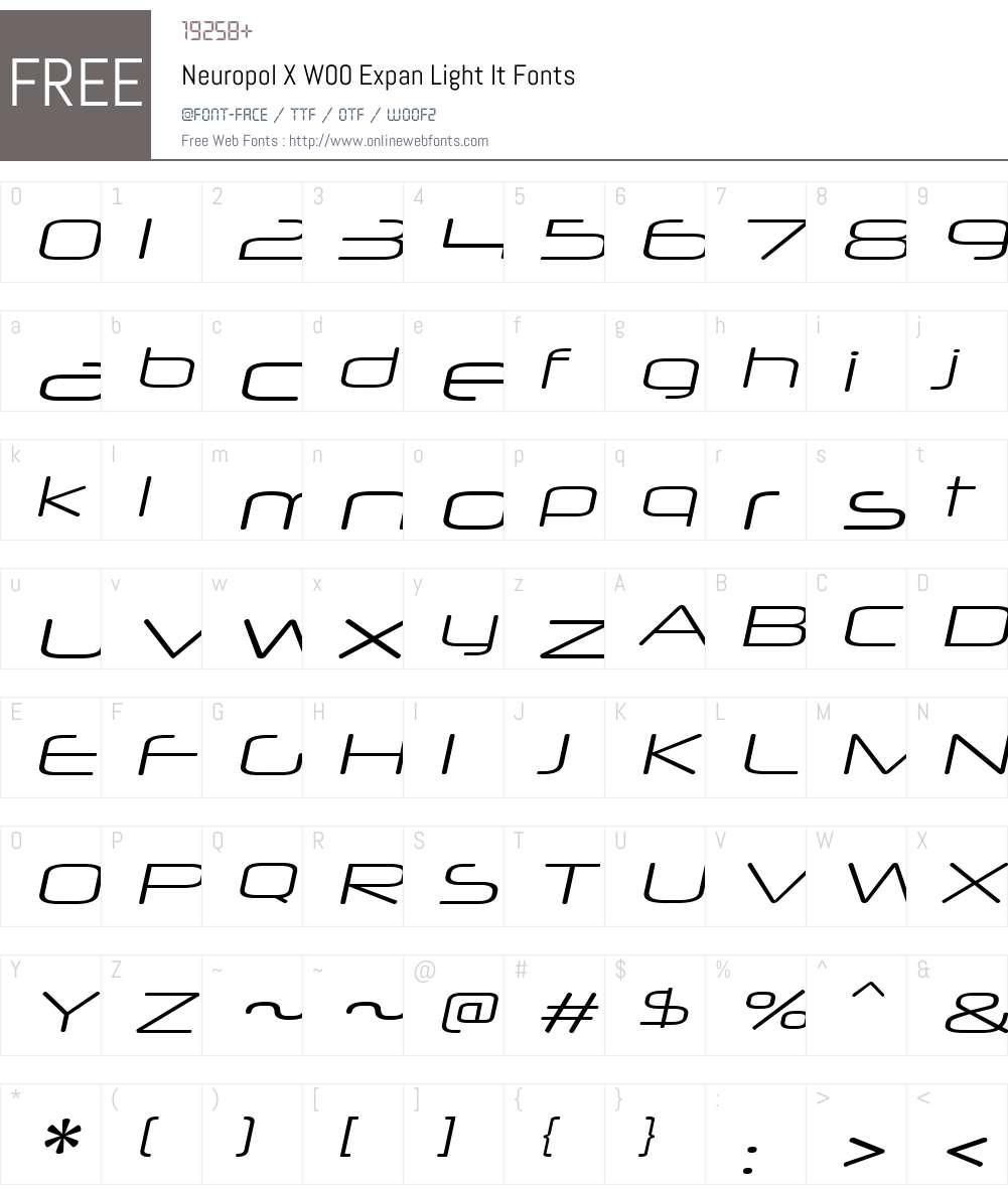 NeuropolXW00-ExpanLightIt Font Screenshots