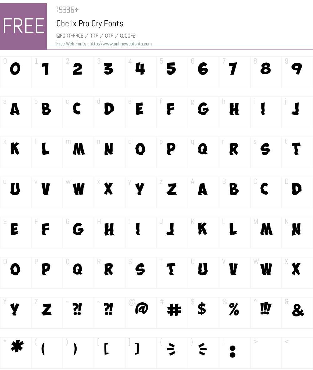 ObelixProCry Font Screenshots