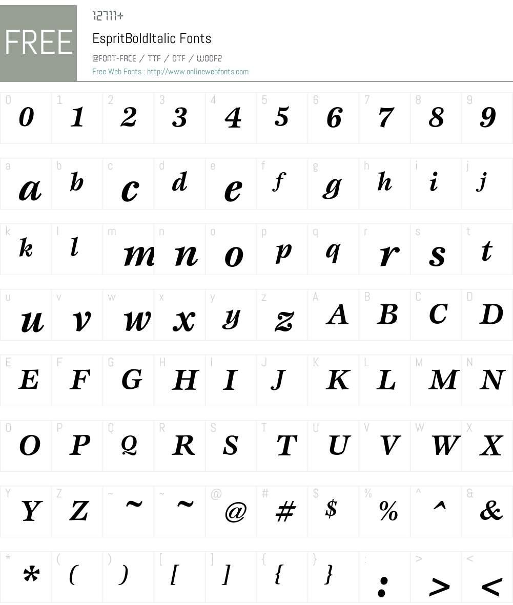 Esprit Font Screenshots