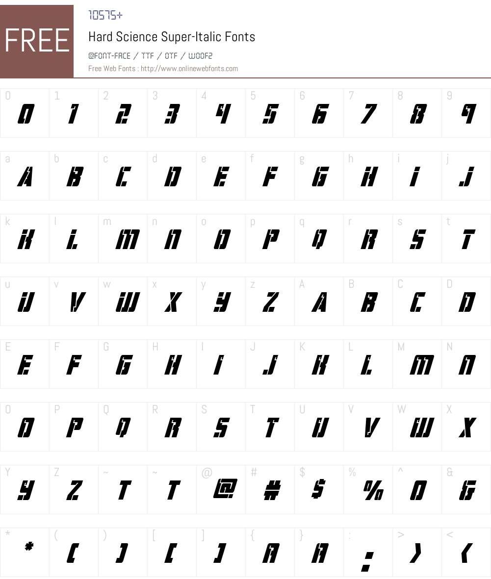 Hard Science Super-Italic Font Screenshots