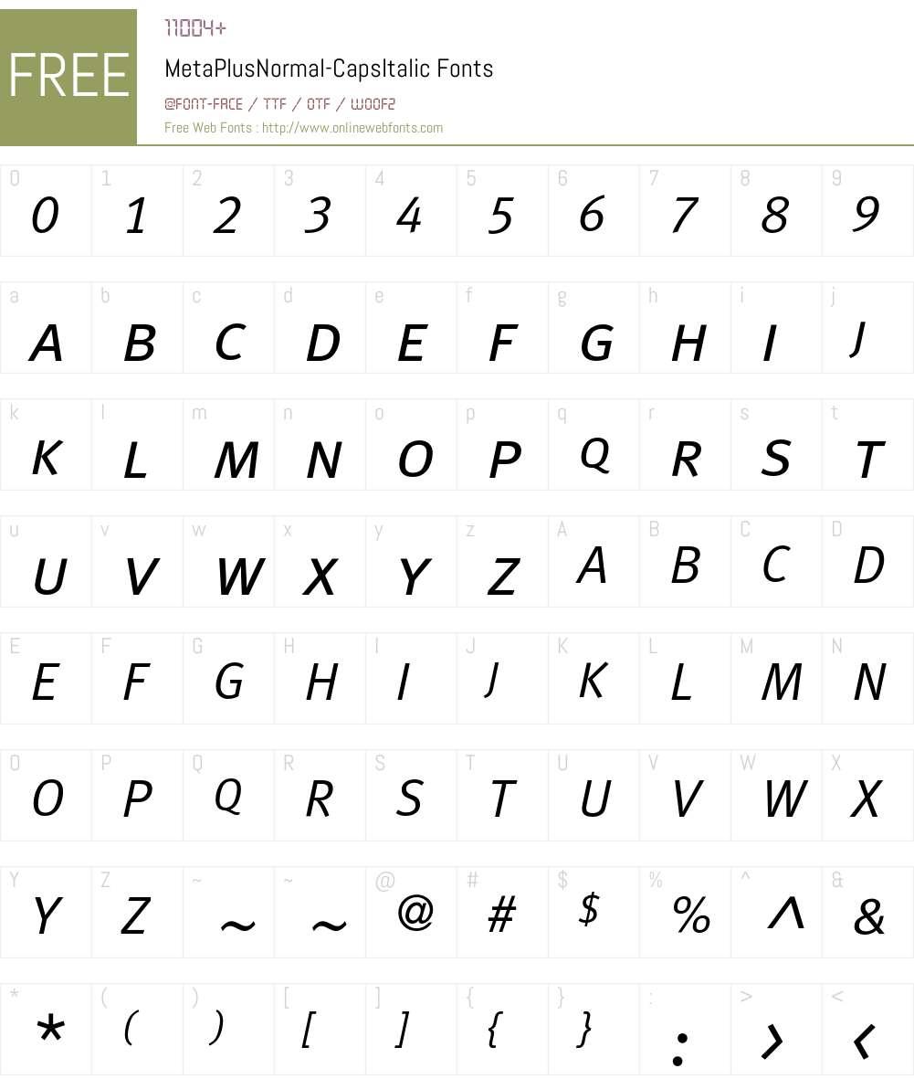 MetaPlusNormal- Font Screenshots