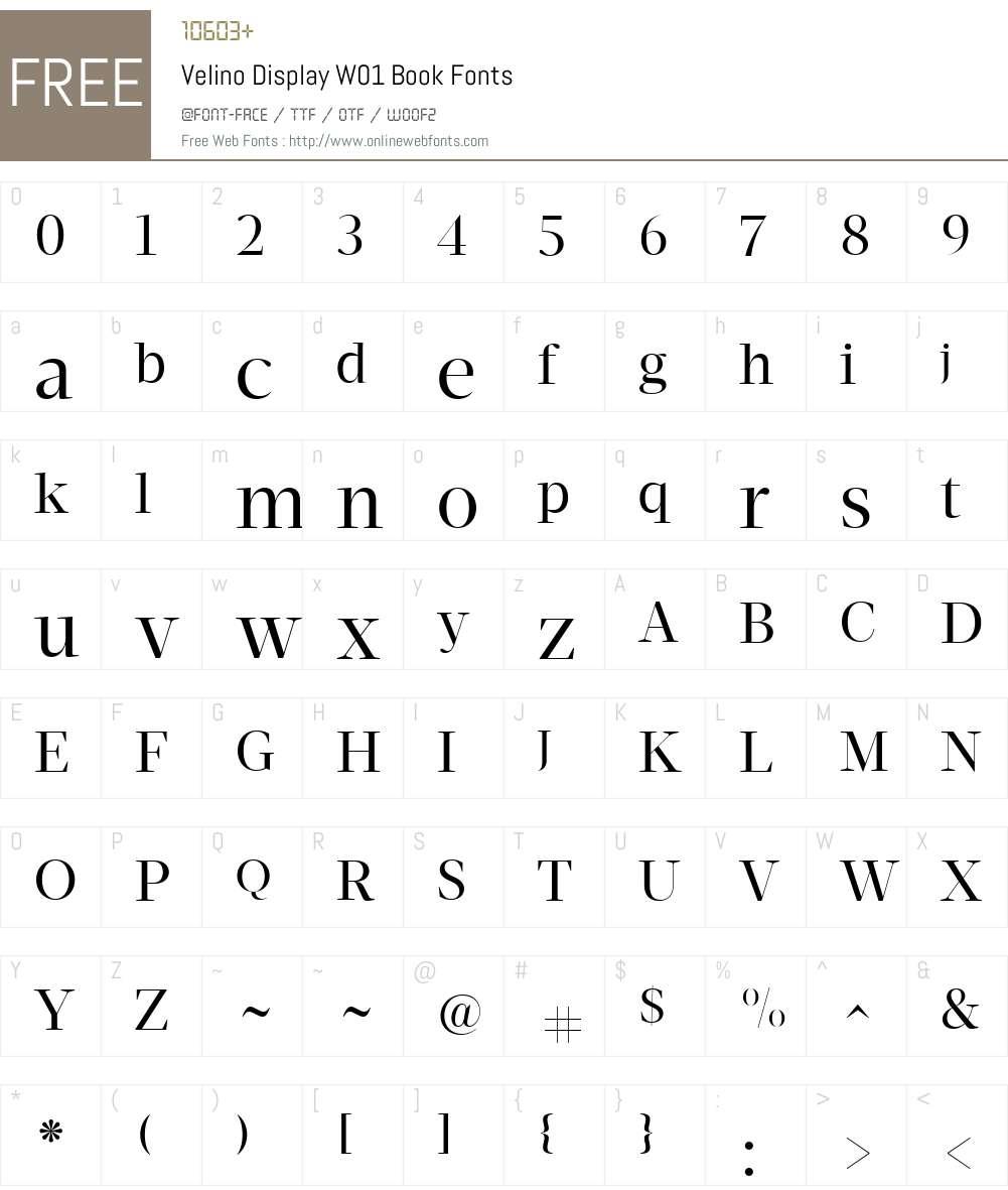 VelinoDisplayW01-Book Font Screenshots