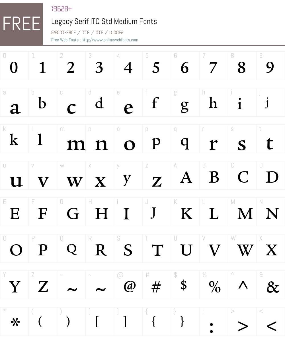 Legacy Serif ITC Std Font Screenshots