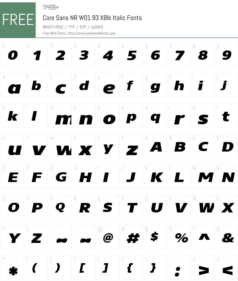 CoreSansNRW01-93XBlkItalic Font Screenshots