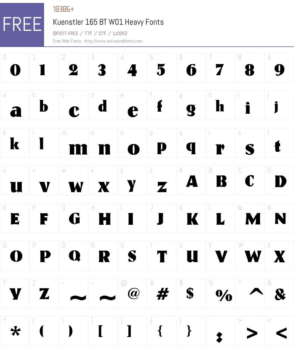 Kuenstler165BTW01-Heavy Font Screenshots