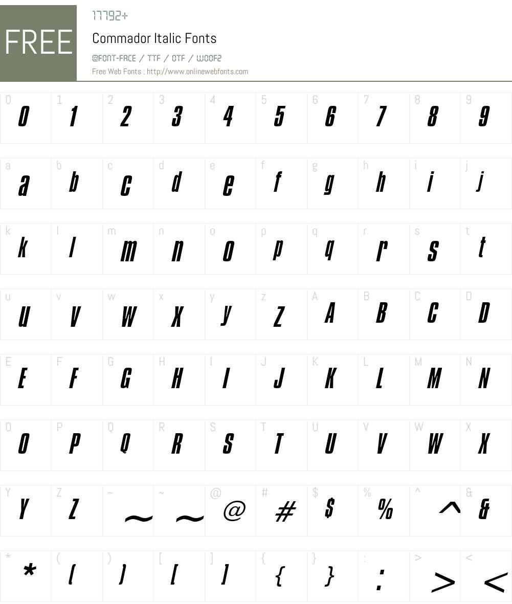 Commador Font Screenshots